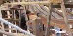 Mark fitting a bilge plank